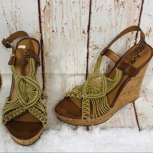 🔥5/25 sale🔥MIA boho crochet platform cork wedges